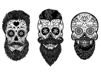 Sugar skulls vectors demon floral skull bearded halloween sugar skull skull