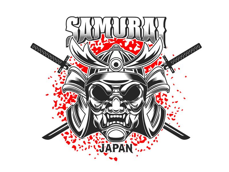 Samurai catana t shirt design w logo japan warrior samurai