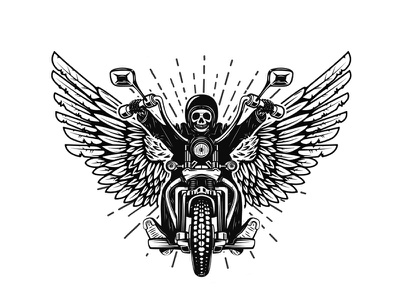 skeleton on winged motorcycle rider ride anarchy vector chopper motorcycle biker racer skull skeleton