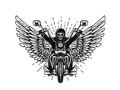 skeleton on winged motorcycle