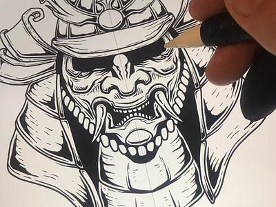 Samurai warrior katana japan sketching procreate warrior vintage samurai