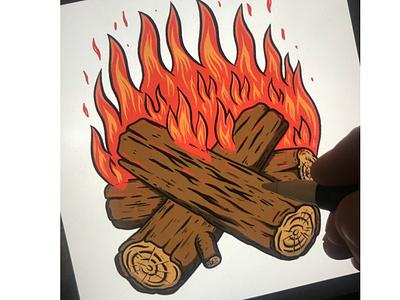 Campfire. Sketching in Procreate bonfire camping sketch campfire fire