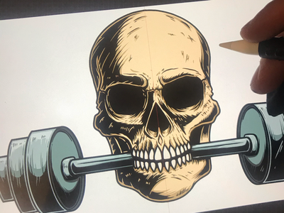Skull with barbell in his mouth horror barbell powerlifting deadlift poster skull gym