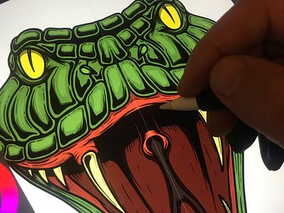 Illustration of the snake tshirt monster procreate viper cobra poison snake