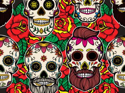 Pattern with sugar skulls dia de los muertos sugar skull day of the dead halloween mexico pattern skull