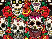 Pattern with sugar skulls