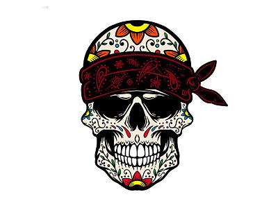 Sugar skull logo halloween day of the dead dia de los muertos gangster gang sugarskull skull