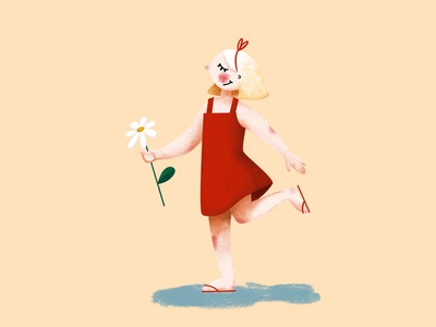 Summertime red graphic art photoshop illustrator summertime summer girl character illustration