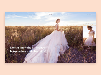 Wedding website concept Home screen