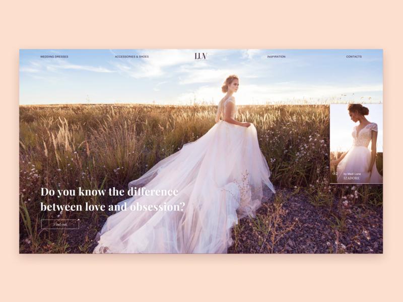 Wedding website concept Home screen site online shop fashion wedding minimalistic minimal homepage clean ux ui website concept landing web design