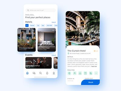 Hotel Booking App Concept design white clean search ios hotel booking travel app traveling travel ux ui interface applicaiton app