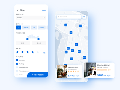 Hotel Booking App Concept map travel app mobile minimal white clean filter travel hotel booking search ux ui ios interface applicaiton app