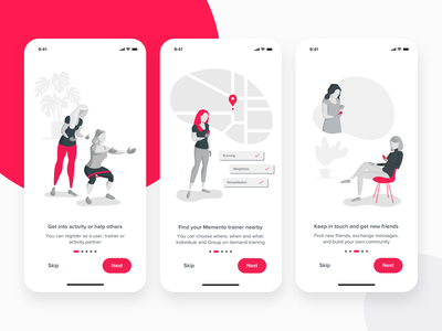 Memento U Activity Application Onboarding activity fitness app fitness graphic mobile clean sport app sport onboarding ux ui ios iphone illustration applicaiton app