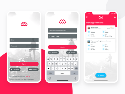 Memento U Activity Application Sign In login fitness app fitness sport app sport clean home screen sign in ux ui iphone x ios iphone interface applicaiton app