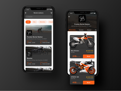 Rental app Concept: Search & Booking  screen ipone x concept ecommerce profile bike motorbike booking book list search rent rental dark ux ui interface ios mobile applicaiton app