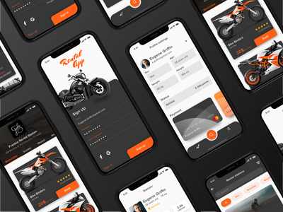 Rental App Concept clean iphonex iphone ios dark ecommerce app ecommerce rental app rent motorbike bike concept ux ui mobile application app