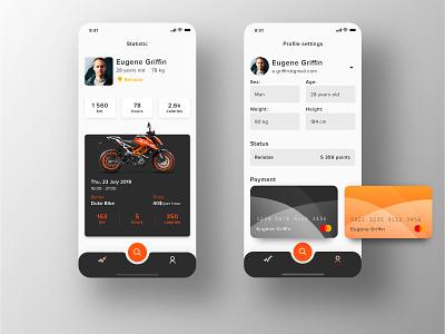 Rental app Concept: Profile & Settings screens clean design motorbike bike interface dark dark app ux ui settings profile ecommerce app ecommerce rental rent ios concept cards applicaiton app
