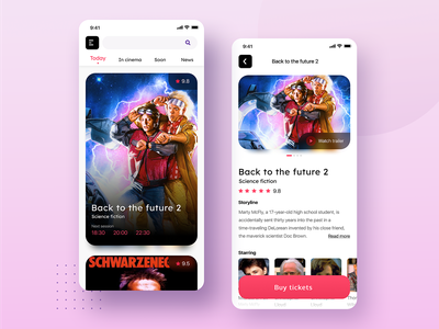 Cinema App card ticket book iphonex mobile cinema app movie cinema concept ios ux ui clean interface minimal design app