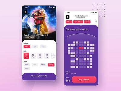 Cinema App Concept concept app interface clean minimal mobile iphonex ios ui ux design cinema movie application book tickets fiolet flat figma icons