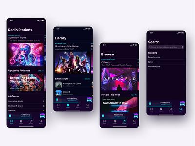 Music Player Native IOS design mobile minimal dark theme clean concept applicaiton interface ux ui ios player music iphone x iphone