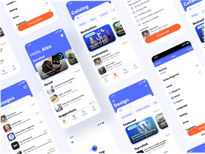 Learny - Education App Concept typography colorful application card iphone x illustration mobile sign in education mininal concept iphone interface ux ui ios design clean