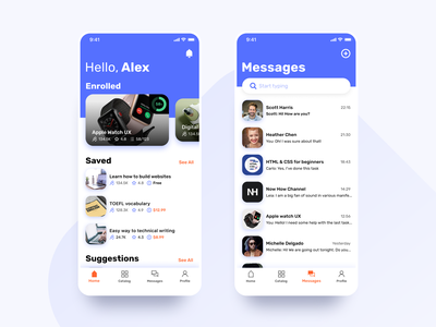 Learny - Education App Concept education app typography ui education clean interface ux concept minimal mobile design messages homepage dashboad mobile illustraion iphonex ios card application app