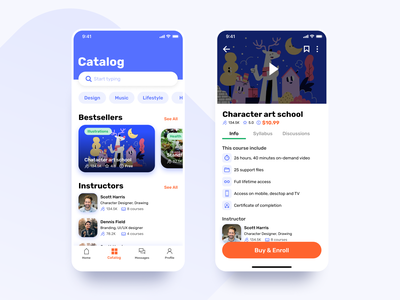 Learny - Education App Concept ios iphone iphone x app application interfaces illustration catalog card mobile design mobile minimal clean concept interface ux ui education app education