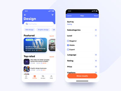Learny - Education App Concept service dashboad skills learning base student task knowledge ux ui design mobile online courses courses education platform interface filter app account