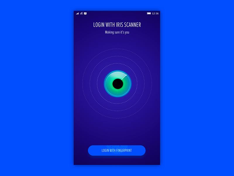 Login bank app bank fingerprint login scanner iris eye hello windows