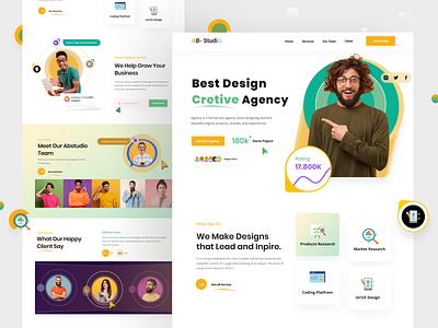 Creative Agency Landing Page logo illustration ui abustudio agency website startup corporate website redesign digital agency 3d design creative design colorful design trend 2021 popular design landing page