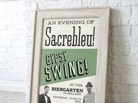 Vintage green sacrebleu! poster in frame 01