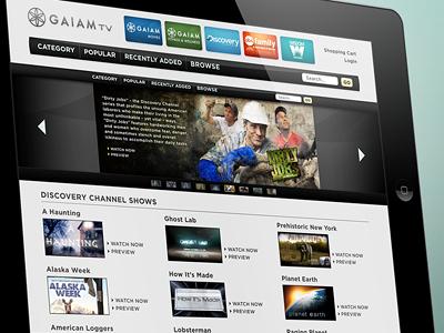 GaiamTV Concept gaiamtv gaiam tv ipad concept ui ux mobile ios tablet video