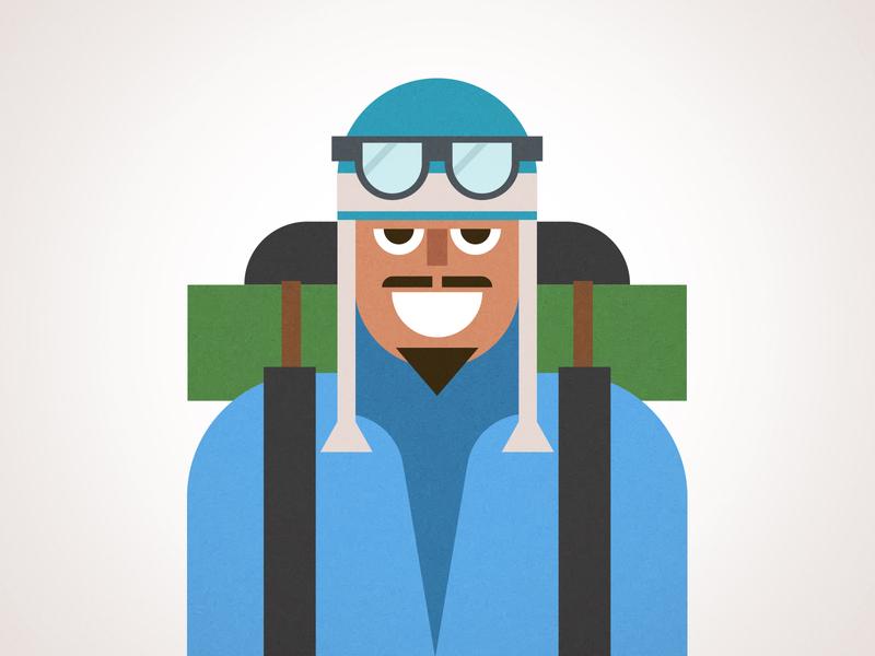 Sherpa Illustration design backpack sunglasses mountaineer porter climber sherpa man duolingo vector illustration
