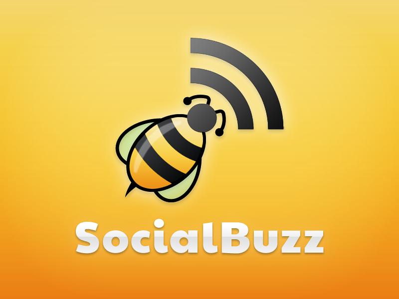 Socialbuzz Logo logo socialbuzz social app rss blog blogging sharing share syndication brand identity bee yellow black rss feed
