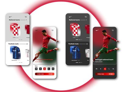 Nike App dark mode order now purchase portugal croatia national team footballkits football nike mockup cristiano ronaldo ronaldo cr7 cristiano mobileapp nikeapp nikefootball nike uxui