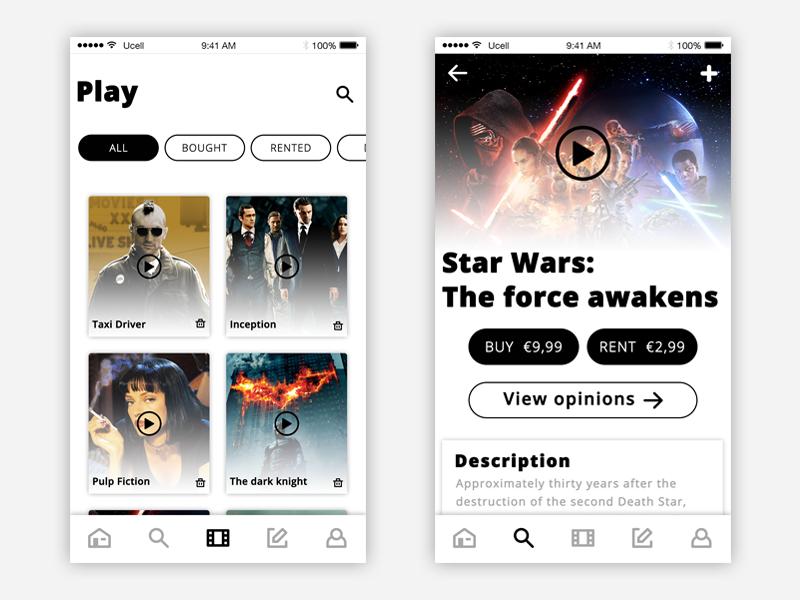 Moviee! app #2 - UI ui ux minimal minimal design ui design app movie movie app complexion reduction