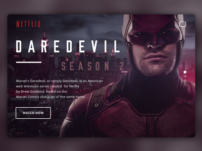 Landing Page - Daily UI #003 netflix daredevil landing page ui ux ux design ux ui design ui daily ui dailyui 003 daily ui 003