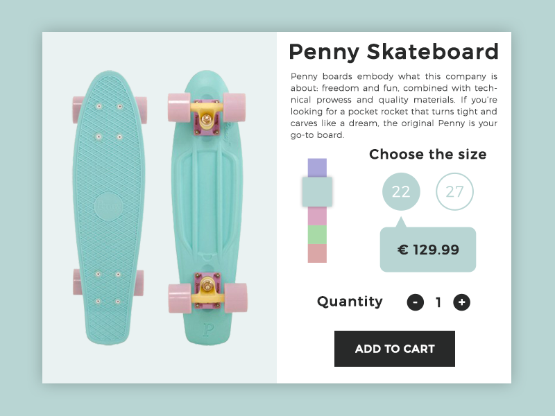E-Commerce Shop (Single Item) - Daily UI #012 012 daily ui 012 dailyui daily ui ui ui design ux ux design ui ux skateboard penny skateboard e-commerce