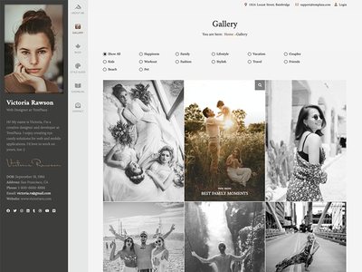 Profiler - Gallery [Redesign] elegant theme template album cv personal blog personal blog gallery