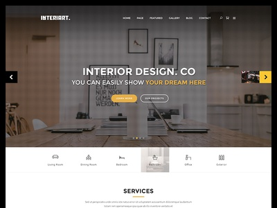 Interiart - Freebie PSD Template free freebie room lifestyle interior indoor house furniture decoration decor architecture apartment
