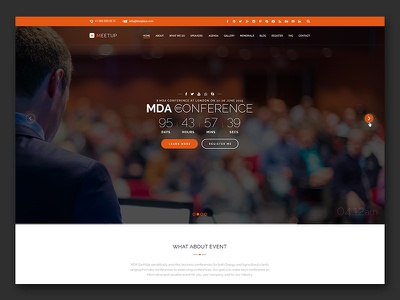 Meetup - Free PSD Template free freebie organization meetup government event conference booking