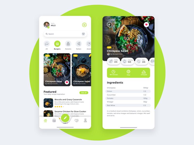 Recipe App Design adobe xd mobile first mobile recipe design ui ui ux modern 2020 ui design app design app