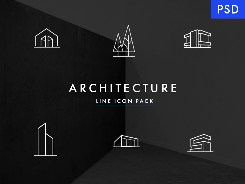 Minimal Architecture Line Icon Pack - FREE PSD by Milo