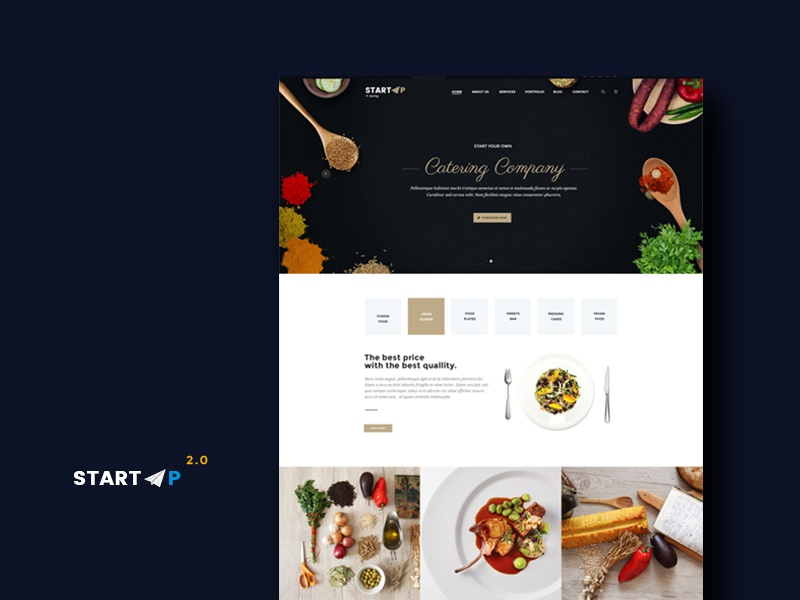 Startup catering company demo website template by milo themes dribbble05 maxwellsz