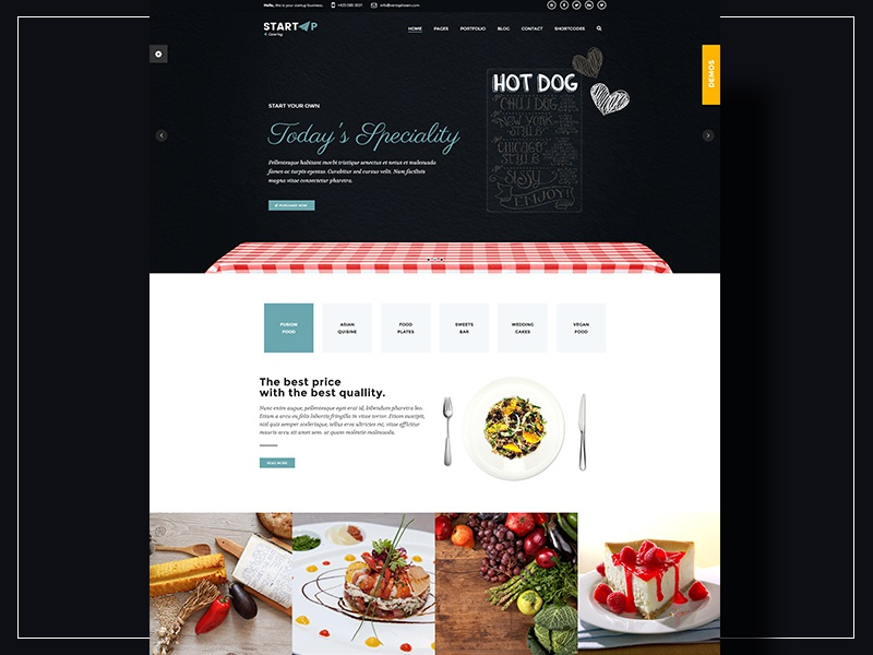 startup catering company demo website template by milo themes
