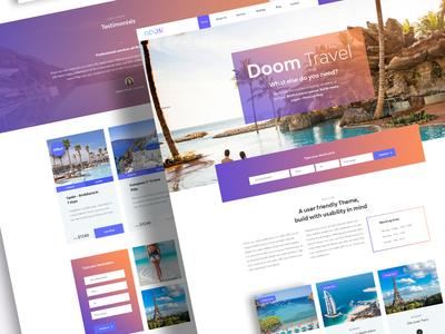 Doom Travel Layout theme template website ux ui gradient modern psd mockup webdesign design