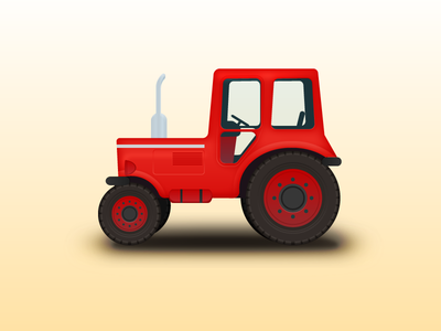 Small tractor car red icon badge tractor