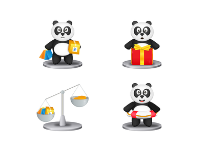 Pandao onboarding illustration (part 2) safe present shoping shop panda