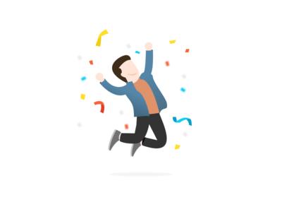Winner charachter illustration minimal happy congratulations winner win