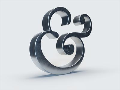 Ampersand metalic arnold c4d 3d ampersand